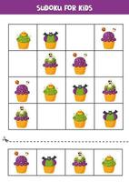 Sudoku puzzle game with spooky Halloween cupcakes. vector