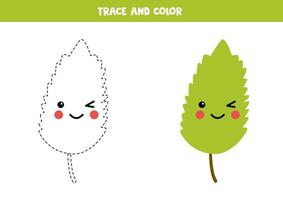 Trace and color kawaii smiling green leaf. vector