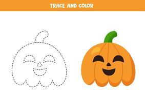 Trace and color cartoon Halloween pumpkins. Handwriting practice. vector