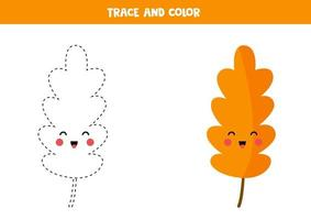 Tracing and coloring book with kawaii leaf for kids. vector