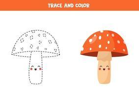 Tracing lines with cute kawaii amanita mushroom. Coloring page for kids. vector