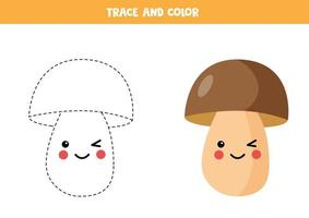 Tracing lines with cute kawaii boletus. Coloring page for kids. vector