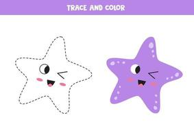 Trace cute kawaii starfish. Coloring page for kids. vector