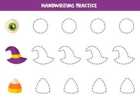 Tracing contours with spooky Halloween elements. Game for kids. vector