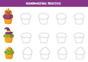 Tracing contours of cute Halloween cupcakes. Game for kids vector