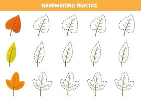 Trace contours of autumn leaves. Educational worksheet. vector