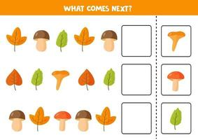 What comes next with colorful autumn leaves and mushrooms. vector