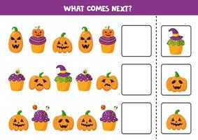 What comes next with Halloween cupcakes and pumpkins. vector