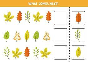 Continúe la secuencia con lindas hojas de otoño. que viene despues. vector