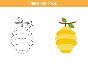 traza y colorea linda colmena de abejas. hoja de trabajo para niños. vector