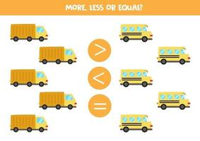 More, less, equal with cute school bus and truck. vector