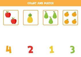 juego de contar para niños. hoja de trabajo coincidente. frutas vectoriales. vector