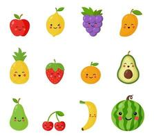 Set of cute and happy kawaii fruits and berries. vector