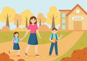 Mother and children go to school together. Vector illustration.