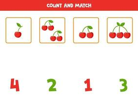 Count cherries and match with the numbers. vector