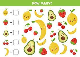 cuente la cantidad de frutas kawaii lindas. vector