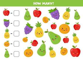Count the amount of cute kawaii fruits and write down the answer. vector