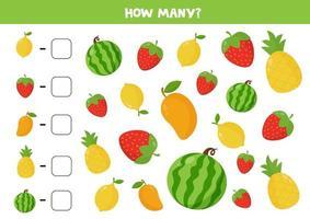 juego de conteo con frutas y bayas de vector. hoja de trabajo colorida. vector
