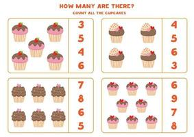 Math game with cupcakes. Count and circle the right answer. vector