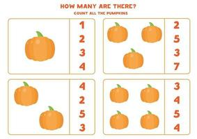 How many pumpkins are there. Count and circle right answer. vector