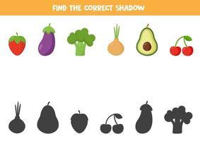 encuentra la sombra correcta de todas las frutas y verduras. vector