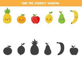 encuentra la sombra correcta de lindas frutas kawaii. vector