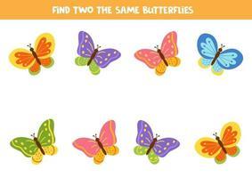 Encuentra dos mariposas de dibujos animados iguales. vector