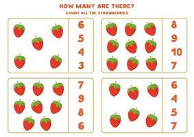 juego de contar para niños. fresas de dibujos animados lindo. vector