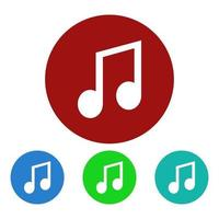 Musical Note Icon On Background vector