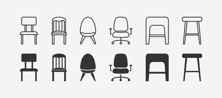 vector illustration of chair isolated icon set.