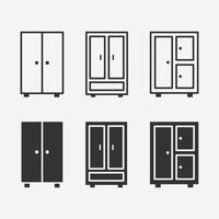 vector illustration of cupboard isolated icon set.
