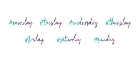 Set of week days with the hashtag