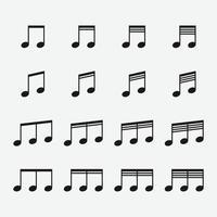 Ilustración de vector de conjunto de iconos de nota musical