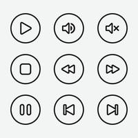 vector illustration of music button icons set