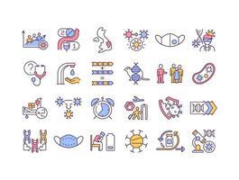 Virus mutations RGB color icons set vector
