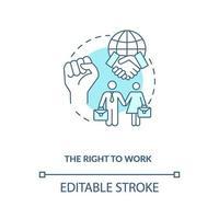 el derecho a trabajar concepto icono azul vector