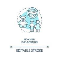 no hay explotación infantil icono azul del concepto vector