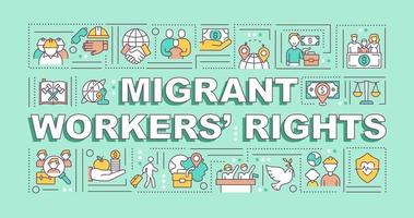 Migrant workers rights word concepts banner vector