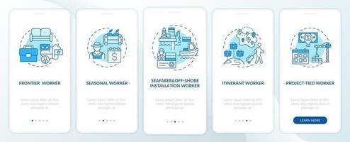 tipos de trabajadores migrantes pantalla azul de la página de la aplicación móvil de incorporación con conceptos vector