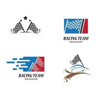 Flag race logo images illustration vector