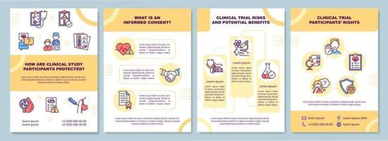 Clinical study participants safety brochure template vector