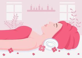 Ilustración de vector de masaje en salón de belleza, spa corporal, relajación, facial esencial y cuidado de la piel. diseño plano