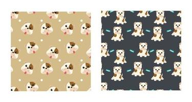 Set Character Seamless Pattern Animal Of Cute Bulldog Dog Can Be Used as Designs Wallpapers or Backgrounds. Vector Illustration