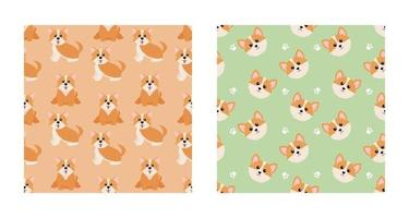Set Character Seamless Pattern Animal Of Cute Pembroke Welsh Corgi Dog Can Be Used as Designs Wallpapers or Backgrounds. Vector Illustration