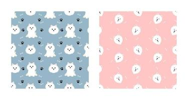 Set Character Seamless Pattern Animal Of Cute Samoyed Dog Can Be Used as Designs Wallpapers or Backgrounds. Vector Illustration