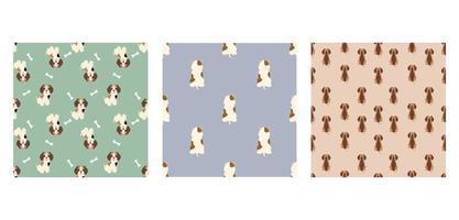 Establecer personaje de patrones sin fisuras animal de lindo perro beagle se puede utilizar como fondos de pantalla de diseños o fondos. ilustración vectorial vector