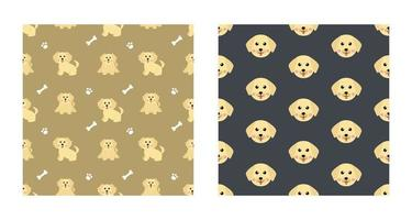 Set Character Seamless Pattern Animal Of Cute Labrador Retriever Dog Can Be Used as Designs Wallpapers or Backgrounds. Vector Illustration
