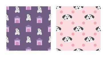 Set Character Seamless Pattern Animal Of Cute Dalmatian Dog Can Be Used as Designs Wallpapers or Backgrounds. Vector Illustration