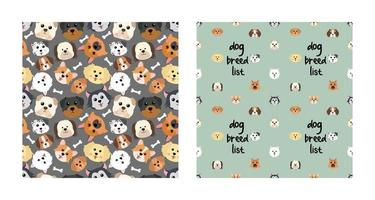 Set Character Seamless Pattern Animal Of Cute Dog Can Be Used as Designs Wallpapers or Backgrounds. Vector Illustration
