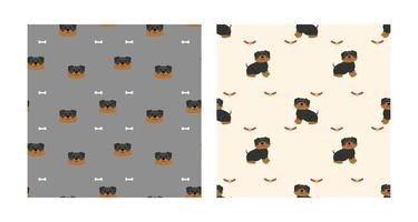 Set Character Seamless Pattern Animal Of Cute Rottweiler Dog Can Be Used as Designs Wallpapers or Backgrounds. Vector Illustration
